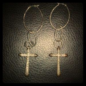 "Lucky Brand Jewelry - Lucky Brand "" ""boho"" Cross Earrings"